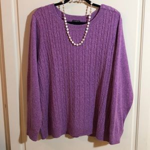 NWT Talbots Woman 2X Lavender Cable Pullover Top